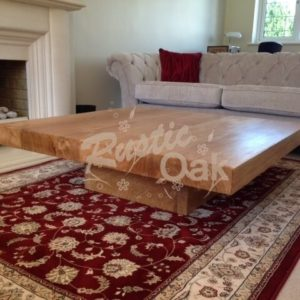 CT27 square coffee table with cube base seasoned oak