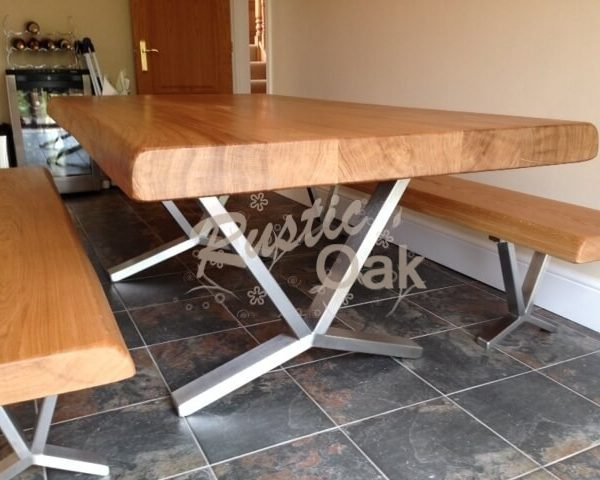 Contemporary Metal Based Dining Table Rustic Oak Furniture