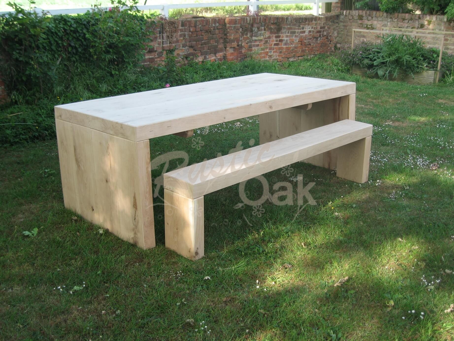Solid end garden table benches rustic oak for Outdoor furniture table