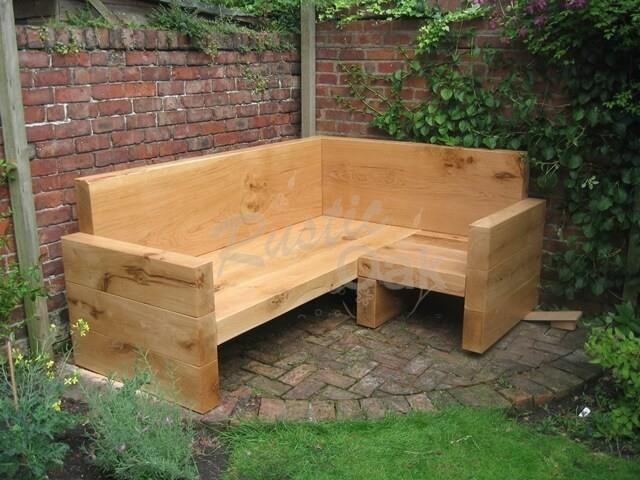 Oak Beam Garden Sofa corner - Rustic Oak