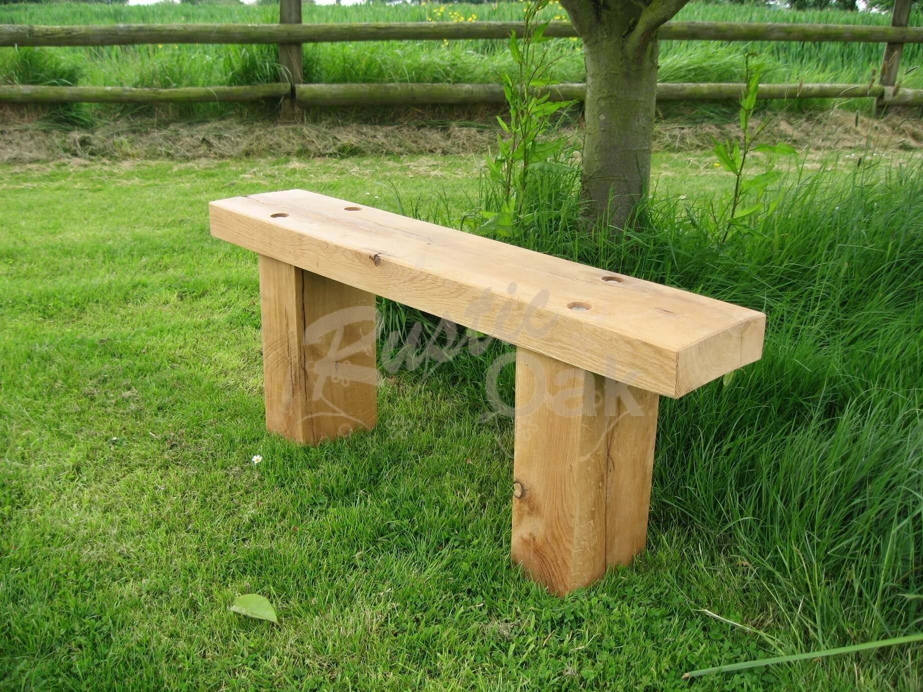 Oak beam garden bench with thin top rustic oak for Rustic outdoor bench plans