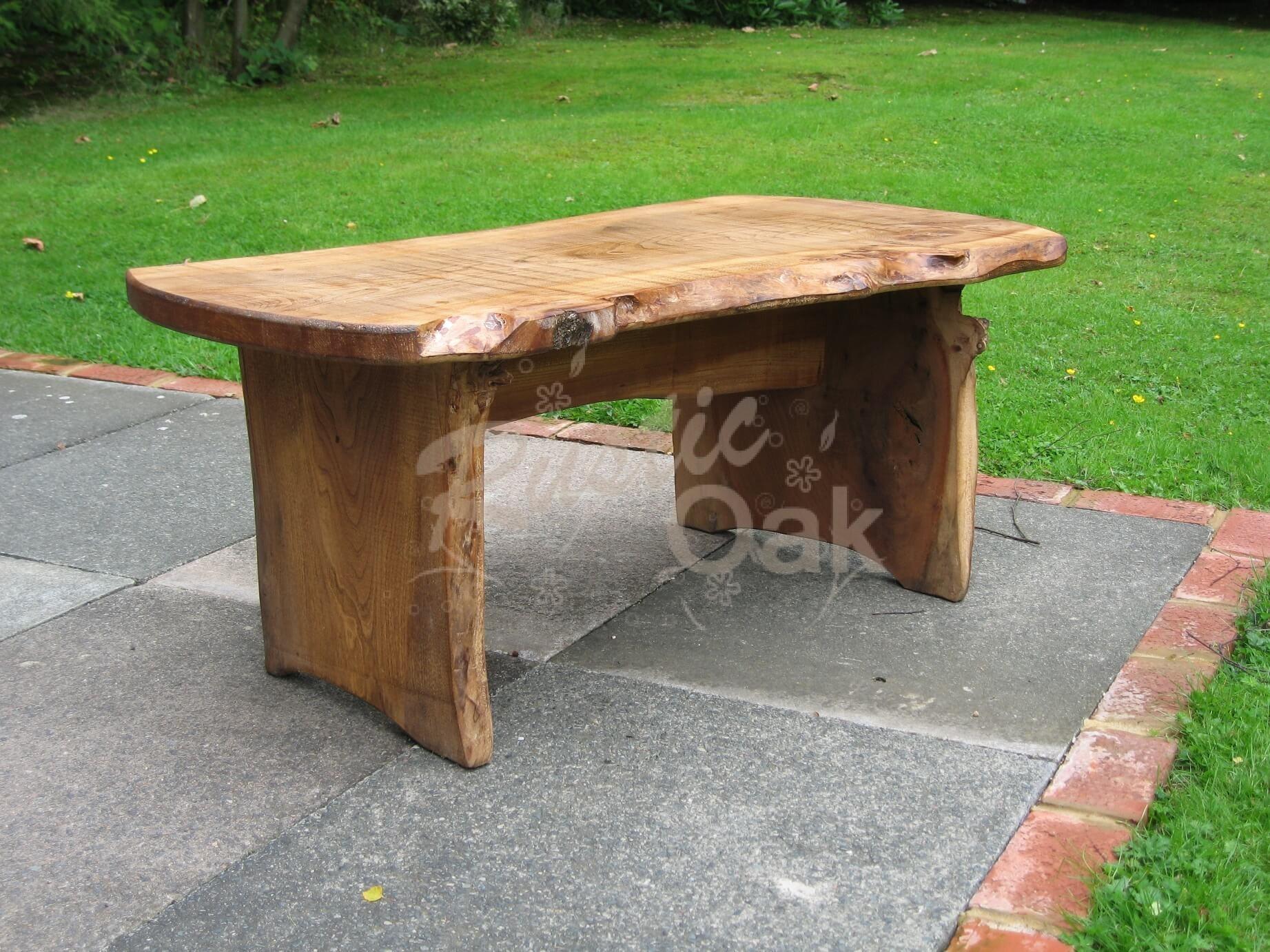 Waney edged garden table rustic oak for Oak garden furniture