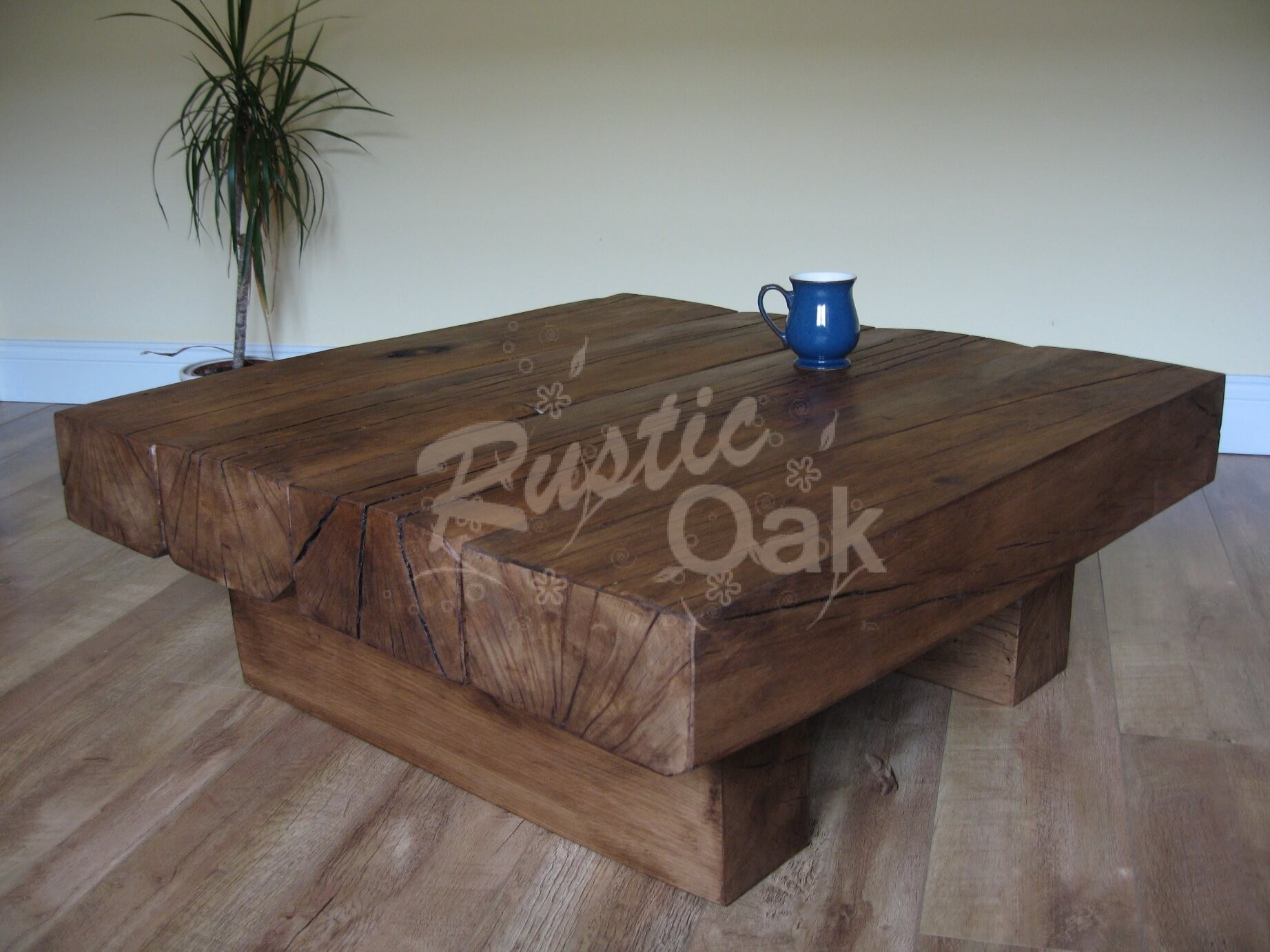 4 Beam Square Coffee Table Rustic Oak