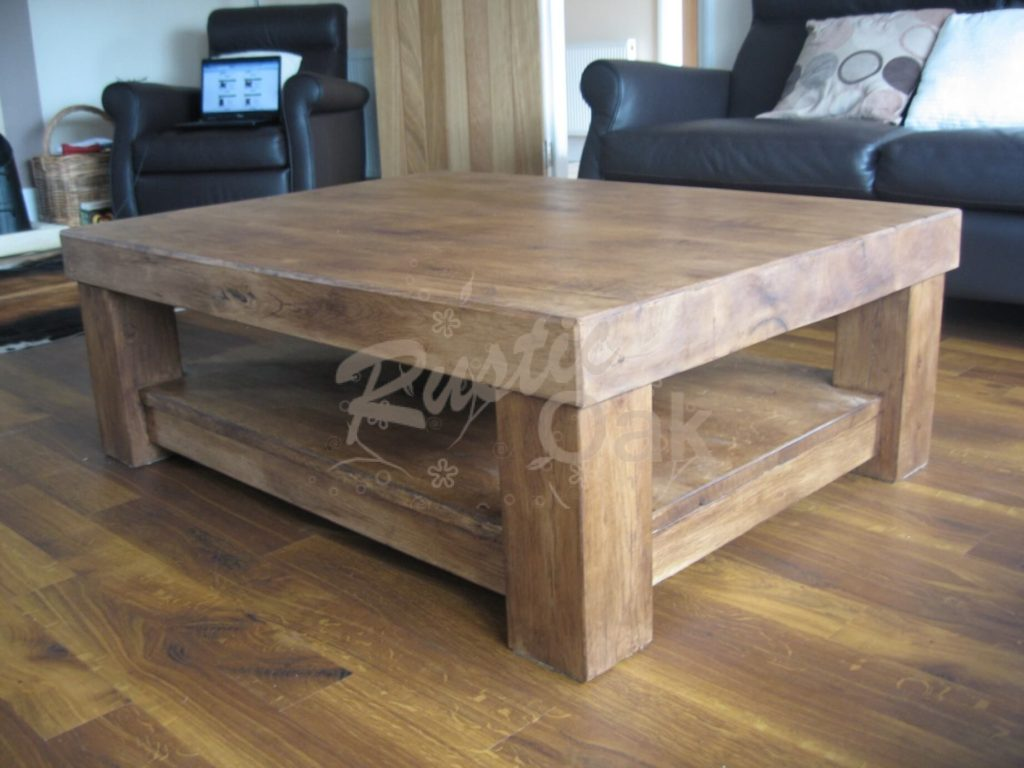 Chunky 4 Leg Coffee Table With Shelf Rustic Oak
