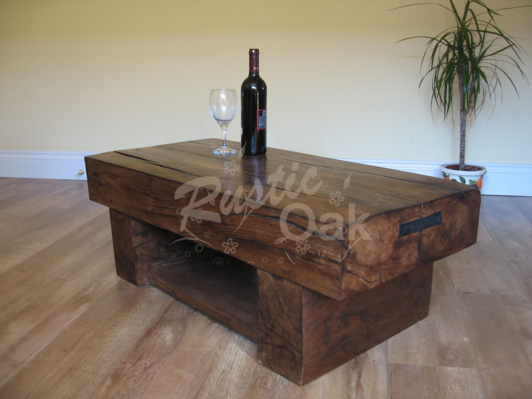 2 Beam Coffee Table with Shelf Rustic Oak Furniture