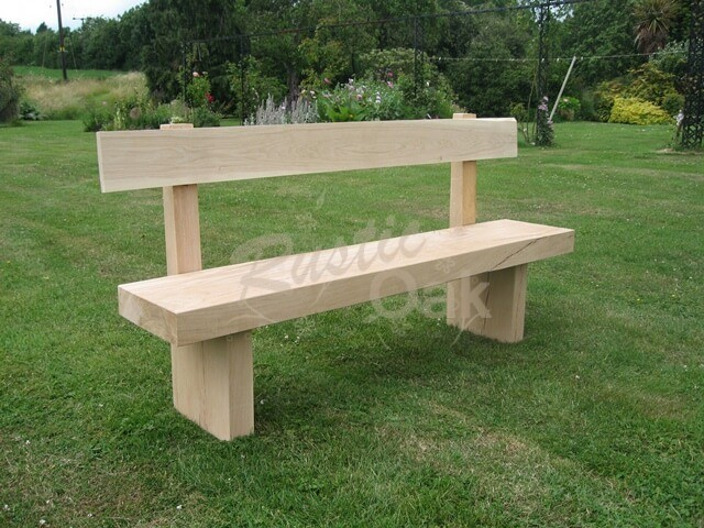 Garden Bench with back - Rustic Oak