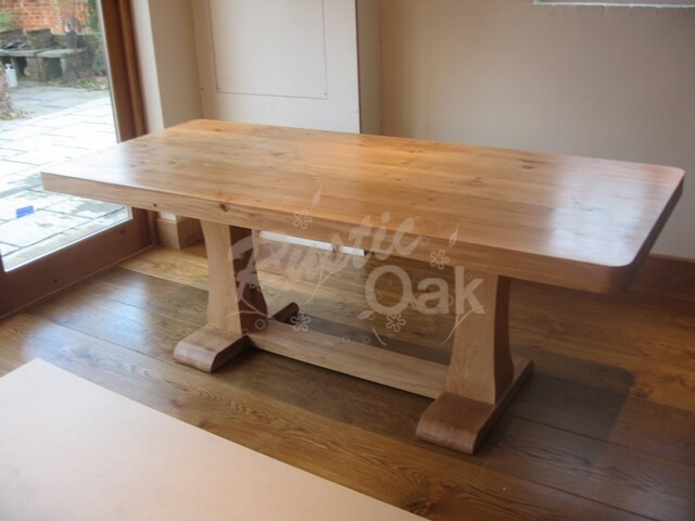 Rustic oak seasoned oak dining table for Modern oak dining table