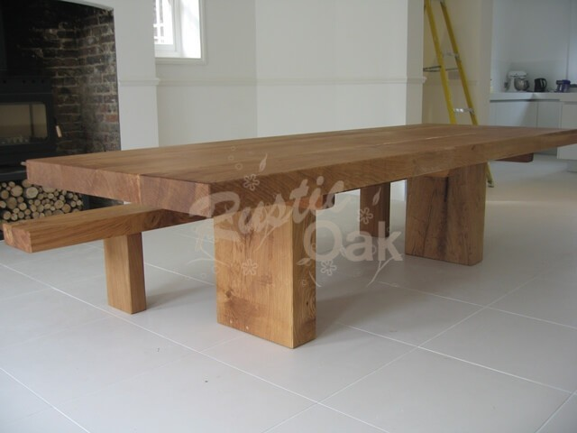Rustic Oak Chunky Oak Beam Dining Table