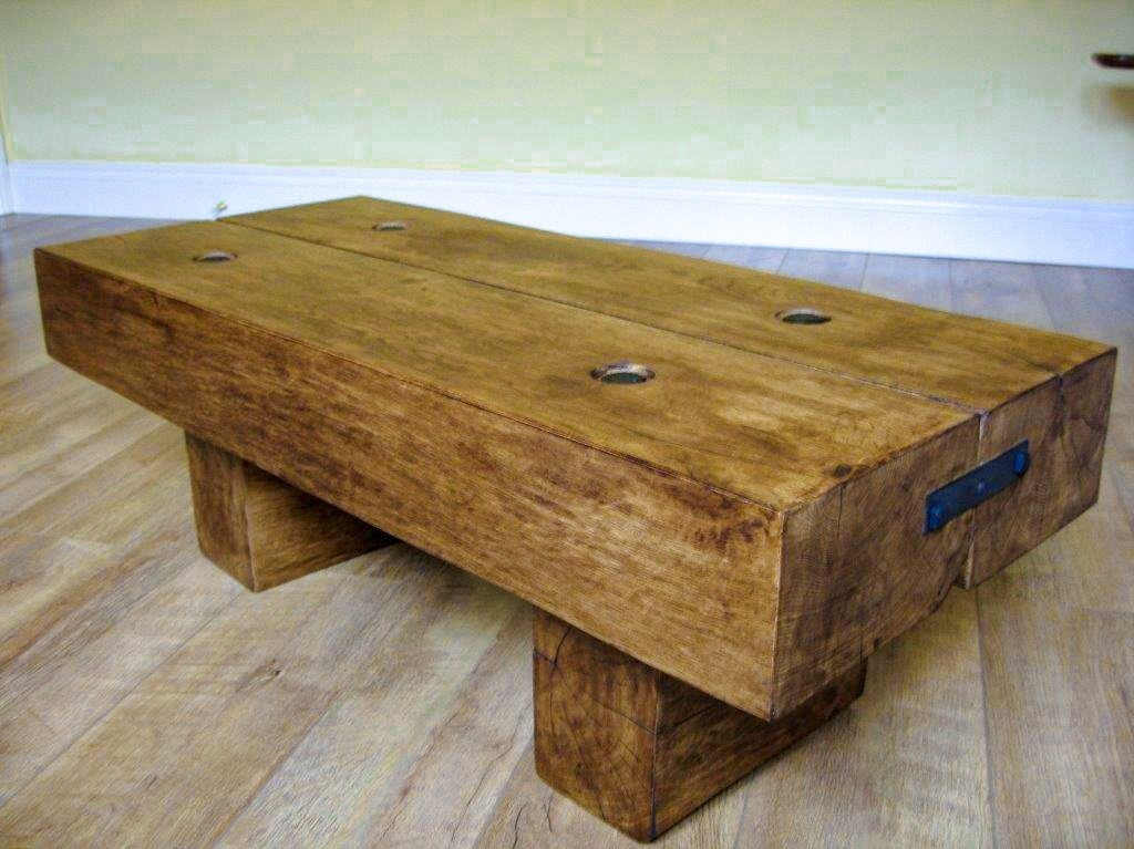 2 Beam Coffee Table With Rustic Bolts