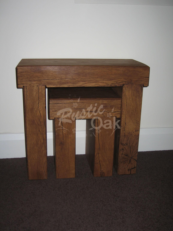 oak beam nest of tables rustic oak furniture. Black Bedroom Furniture Sets. Home Design Ideas
