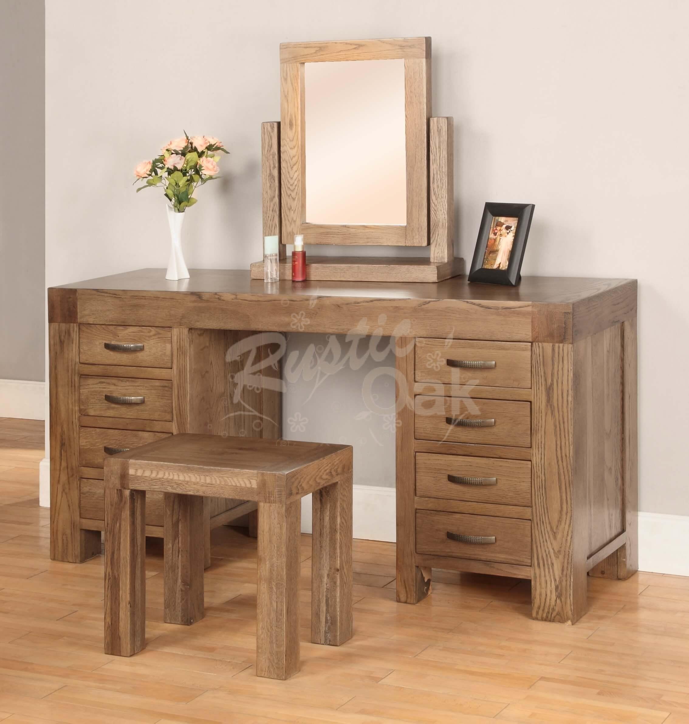 Santana Dressing Table Stool Rustic Oak - Rustic oak dressing table