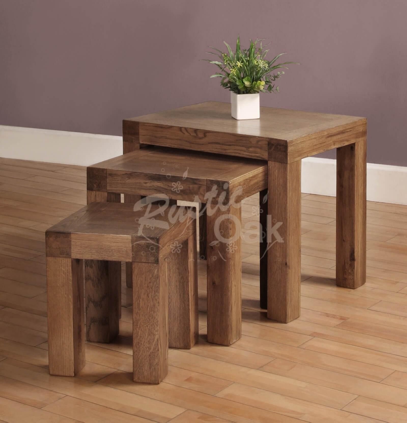 santana nest of 3 tables - rustic oak furniture