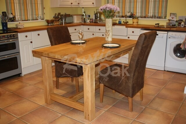 Rustic oak unique handmade kitchen table seasoned four leg dining table dressed workwithnaturefo
